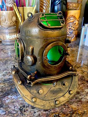 "Replica Mark V Metal Divers Helmet Nautical Lamp Tiki Bar Decor ""Ghoulish Green"""