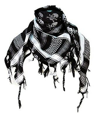 Tapp Collections Premium Skull Pattern Shemagh Head Neck Scarf - Black/Grey