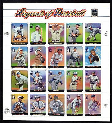 USA - 2000 Legends Of Baseball Stamp Sheet - MNH Condition