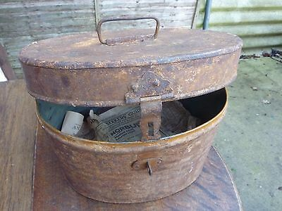 Large Vintage Metal Hat Box Lockable Circa 1920's Hat Tin Display Collectable