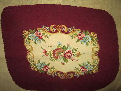 Vintage hand embroidered footstool(cushion),needlepoint- in wool