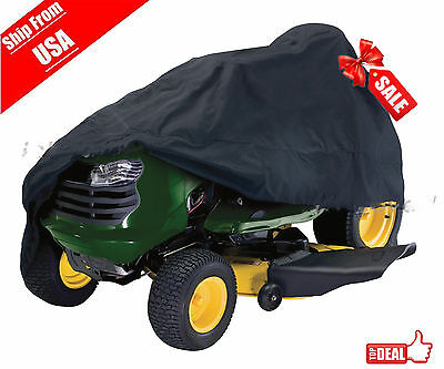 "Deluxe Riding Lawn Mower Tractor Cover Yard Garden Fits Decks up to 54"" -Black H"