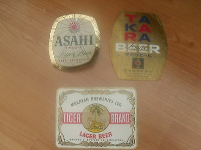 3 BEER LABELS 1950s - 2 from Japan 1 from Singapore
