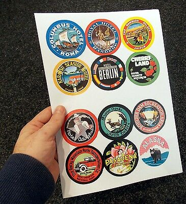 12 Reproduction vintage LUGGAGE STICKERS - decorate old suitcase steamer trunk