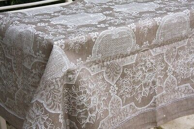 Très Belle Nappe Damassee 100% Lin  140x180
