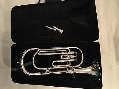 3 Valve Silver Delux Model Bb Baritone Horn With Hard Case And 2 Mouthpieces