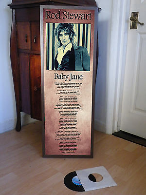 Rod Stewart Baby Jane Promotional Poster Lyric Sheet,pop,rock,small Faces