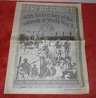 Daily Mirror 1989 Wwii History Supplement~50Th Anniversary World War Ii Outbreak