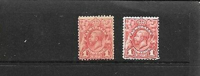 STAMPS AUST KGV 1d ENGRAVED SHADES CARMINE RED & PALE RED MINT HINGED