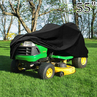 "Deluxe Riding Lawn Mower Tractor Cover Yard Garden Fits Decks up to 54"" -Black Q"