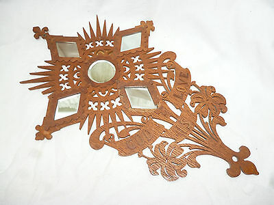 VINTAGE RELIGIOUS CARVED WALL WOODEN HANGING WITH MIRRORS - GOD is LOVE