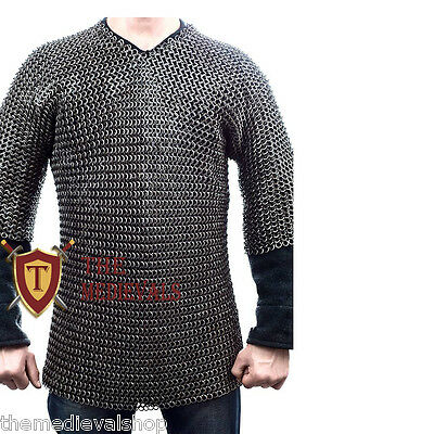CHAIN MAIL SHIRT XXL IN  10MM FLAT RIVETED WITH WASHER FOR MEDEIVAL or SCA ARMOR