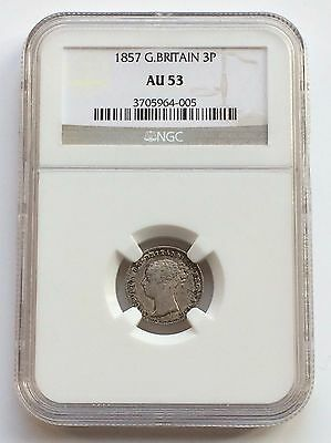 Victoria 1857 Young Head Silver Threepence - Slabbed By Ngc Au-53