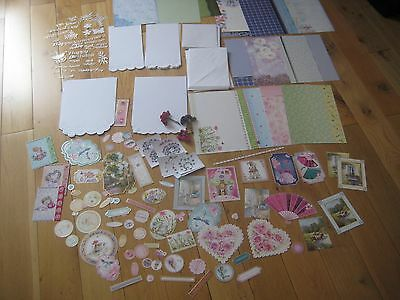 Joblot Cards Envelopes Cardstock Toppers Die Cuts And Paper Flowers