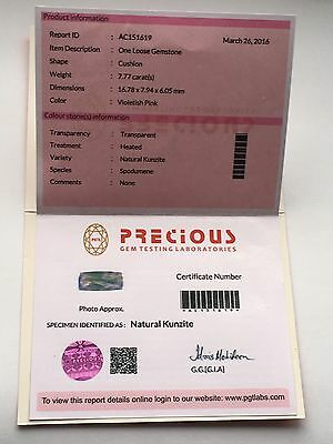 PGTL Certified Violetish Pink Kunzite! Natural Heated Cushion Vs 7.77ct