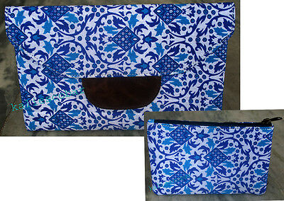 2 Pcs Indian Handmade Floral Print Bag Woman For  Girl Clutch Bag Cotton Blue
