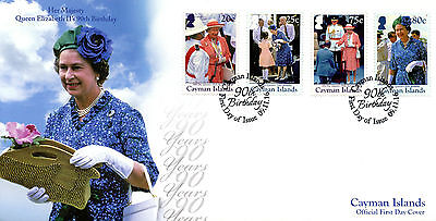 Cayman Islands 2016 FDC Queen Elizabeth II 90th Birthday 4v Cover Royalty Stamps