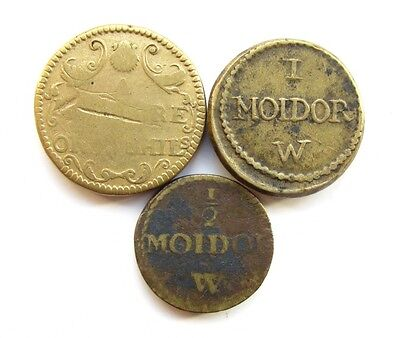 LOT OF 3 x 18th CENTURY PORTUGAL 'MOIDOR' BRASS COINS WEIGHTS