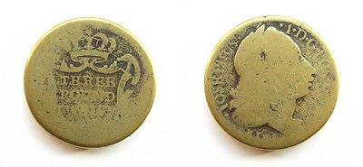 English Brass Coin Weight For Portugese Double Joe Three Pound Twelve - By Kirk