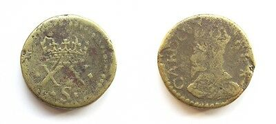 English Brass Coin Weight Charles Ii - Gold Unite / 20 Shillings