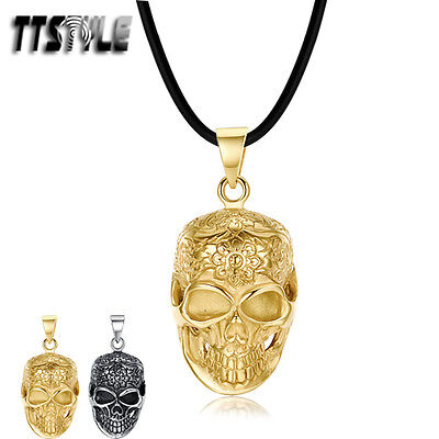 Quality TTstyle 316 Stainless Steel Skull Pendant Necklace Silver/Gold NEW