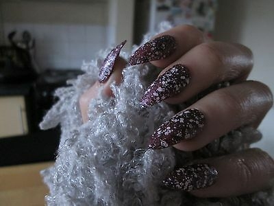 12 Full Cover metallic purple Stiletto Hand Painted False Nails size small
