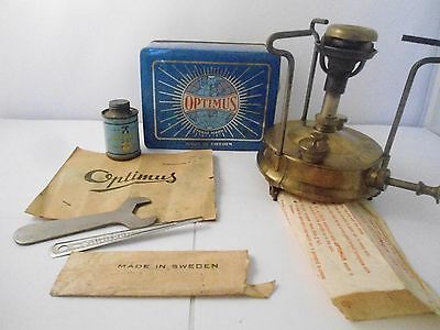 Vintage Optimus No 96 Primus Stove Original Tin Box Camping Travel Sweden