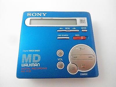 Vintage Sony MZ-R70 Mini Disc Recorder Music Player in Blue Digital Mega Bass