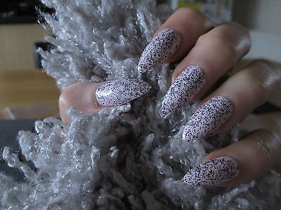 24 Full Cover light pink Stiletto Hand Painted False Nails with glue