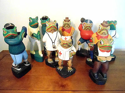 Large Joblot Folk Art Wooden Hand Painted Crafted Quirky Frogs Weird Art Animal