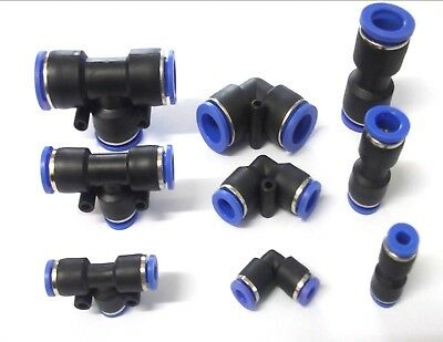 Nylon Push Fit Connector Straight Elbow T Piece Speed Fit Air Lines Hose
