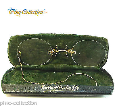 OCCHIALI ANTICHI PINCE-NEZ OCCHIALINI CUSTODIA Antique Golden Spectacles glasses