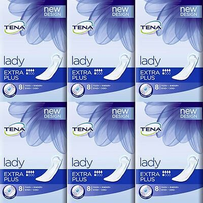 SIX PACKS of Tena Lady Extra Plus 8 Pads