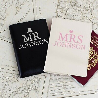 Personalised Wedding Passport Holder Mr & Mrs Passport Covers  - Honeymoon