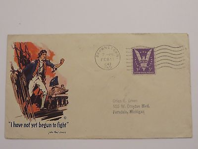"""I have not yet begun to fight"" Brownstown Ind. 3c Envelope Cover - 1943"