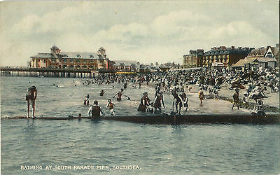 1930s Postcard Bathing at South Parade Pier Southsea Hampshire