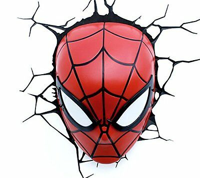Avengers Spiderman Mask 3D LED Bedroom Decoration Wall Art Night Light Kids Gift