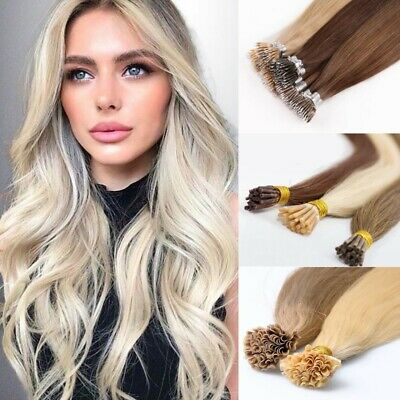 "Pre bonded human hair extensions Stick I Tip Nail U Tip 16"" 18"" 20"" (25 strands)"