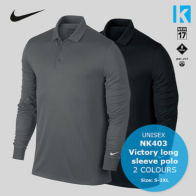 Nike Mens Long Sleeve Polo Shirt Golf Sports Wear Mens Victory Polo Tennis Top