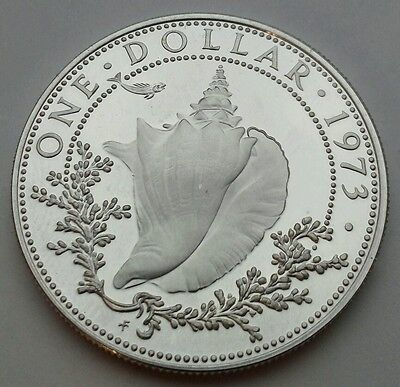 Bahamas 1 Dollar 1973. KM#22. Proof Silver One Dollar coin. Conch Shell, Fish