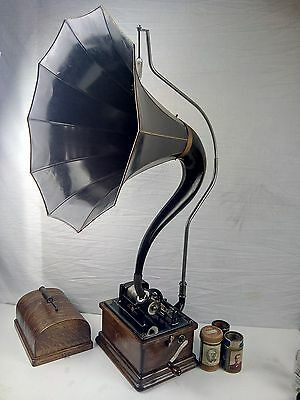 Edison Fireside 2/4 Minute #5866 Phonograph & Cygnet Horn Cylinder Record Player