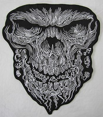 Rare Large Jumbo Skull Face Bike Motorcycle Biker Embroidered Sew On Badge Patch