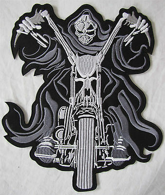 Rare Large Skeleton On Chopper Bike Motorcycle Biker Embroidered Sew Badge Patch