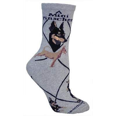 Miniarture Pinscher Dog Breed Gray Lightweight Stretch Cotton Adult Socks
