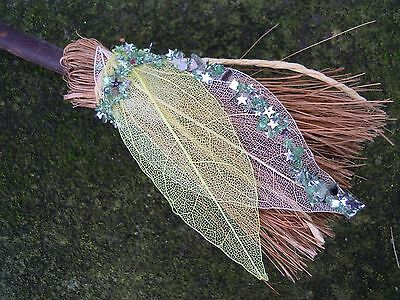 Witches Mini broom Besom Altar Pagan Witchcraft lime green & white leaf
