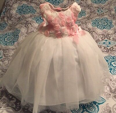 Marmellata 2 Pc Party Dress Size 18 mon Floral Infant Tulle Pink White Holiday
