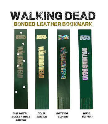Walking Dead Graphic Novel Bookmark, Bonded Leather, Gold, Silver, Metal, Holo