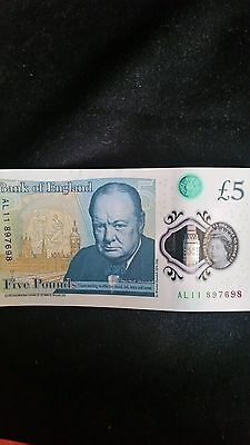 AL11 new £5 note. Churchill Polymer Plastic note. Error on the note.