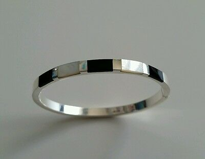 Sterling Silver 925 Bangle Set with Mother of Pearl & Onyx