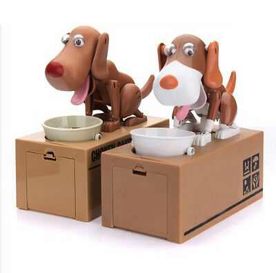 Robotic Dog Puppy Hungry Hound Bank Coin Eating Save Money Box Collection G S6E3